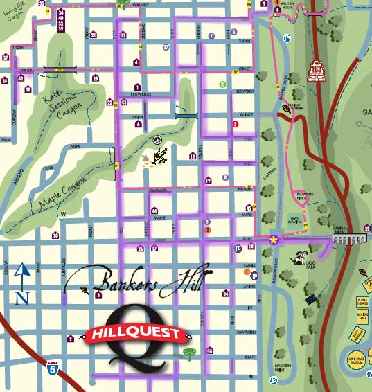 Jacaranda map for May & June in San Diego's Park West/Bankers Hill