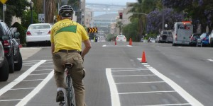 Bankers Hill biker on Fourth Avenue south of Laurel in the newly painted city bike lanes.